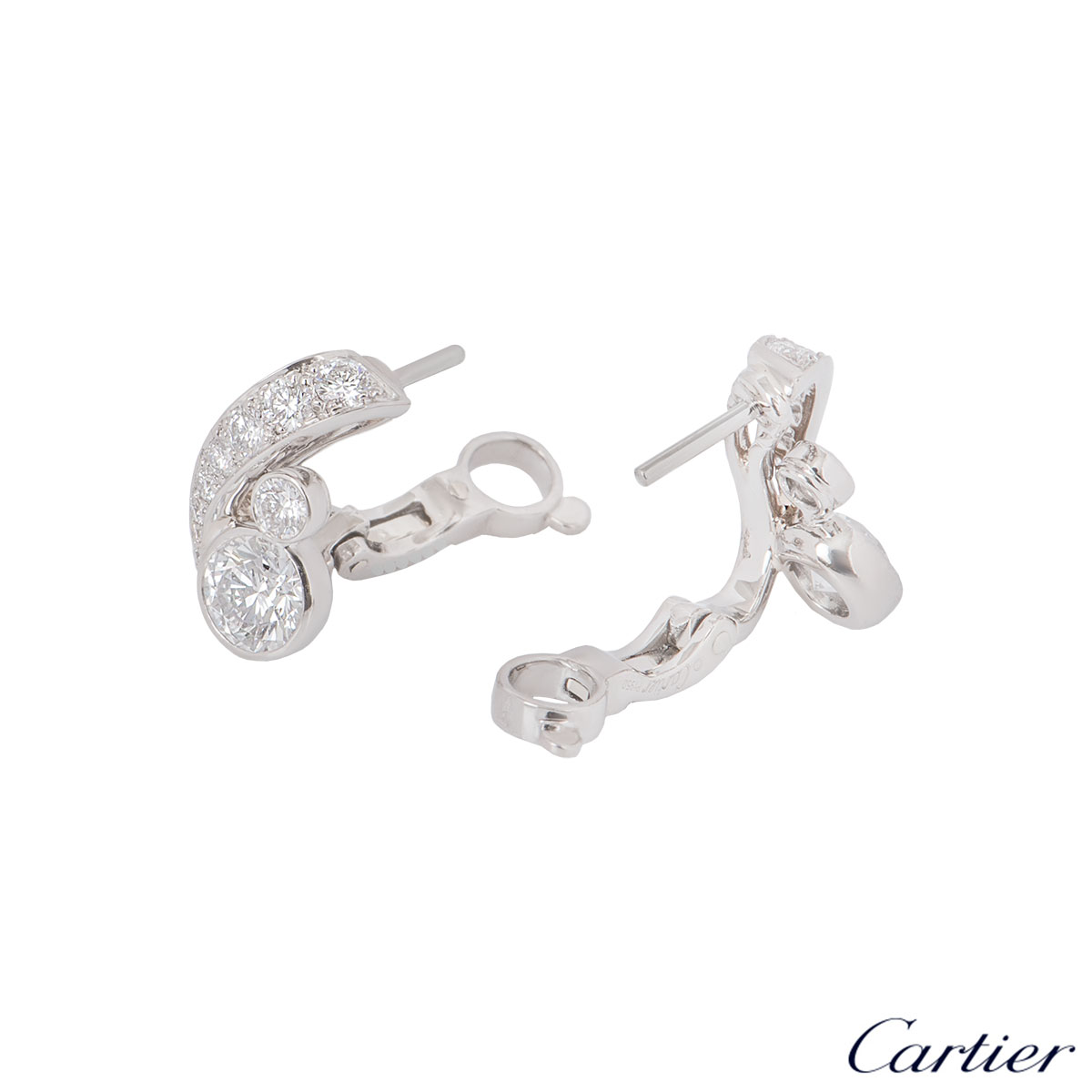 Cartier Platinum Diamond Earrings